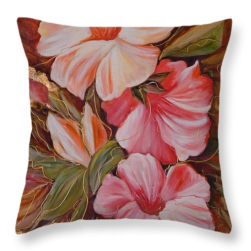 Abstract Throw Pillow featuring the painting Flowers II by Silvana Abel