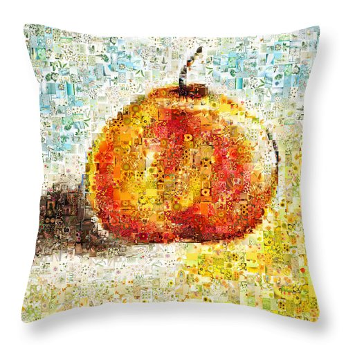 Mosaic Throw Pillow featuring the photograph Flowers In A Mosaic Apple by Angela Stanton