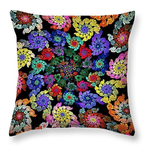 Abstract Throw Pillow featuring the digital art Flowers In A Spiral by Peggi Wolfe