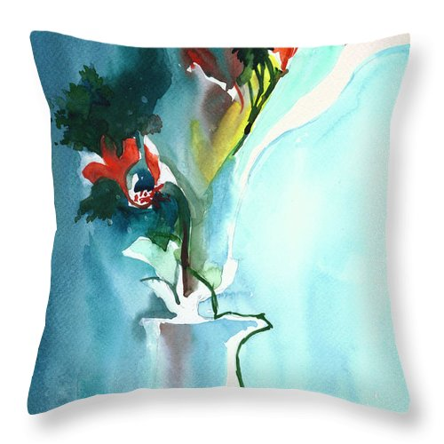 Nature Throw Pillow featuring the painting Flowers in Vase by Anil Nene