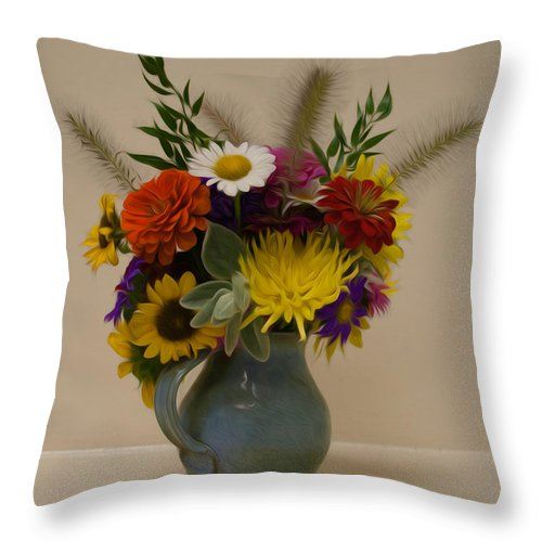 Flower Throw Pillow featuring the photograph Flowers In Vase by Photos By Cassandra