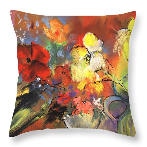 Flowers Throw Pillow featuring the painting Flowers Of Joy by Miki De Goodaboom