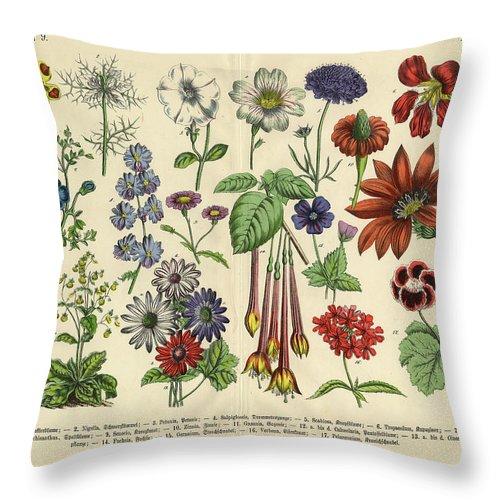 Lantana Throw Pillow featuring the digital art Flowers Of The Garden, Victorian by Bauhaus1000