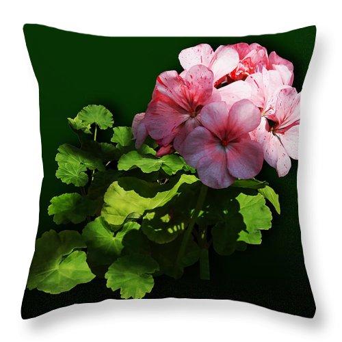 Geranium Throw Pillow featuring the photograph Flowers - Pale Pink Geranium by Susan Savad
