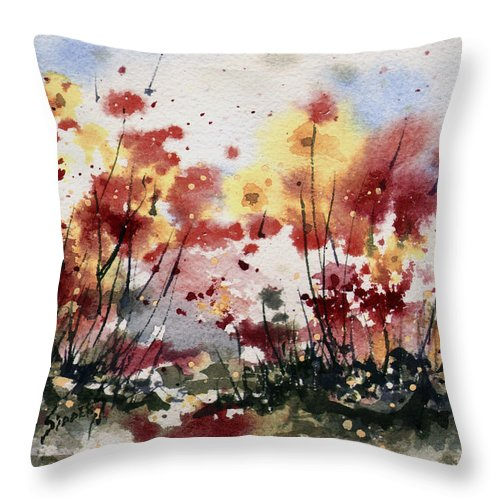 Floral Throw Pillow featuring the painting Flowers by Sam Sidders