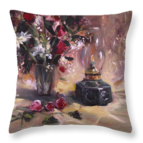 Flowers Throw Pillow featuring the painting Flowers With Lantern by Nancy Griswold