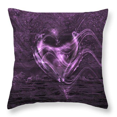 Flowing Heart Throw Pillow featuring the digital art Flowing Heart by Linda Sannuti