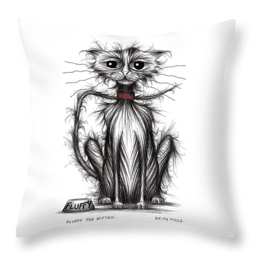 Cat Throw Pillow featuring the drawing Fluffy The Kitten by Keith Mills