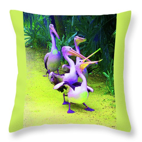 Pelican Throw Pillow featuring the photograph Fluorescent Pelicans by Margaret Saheed