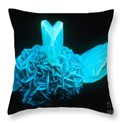 Gypsum Throw Pillow featuring the photograph Fluorescing Selenite Gypsum by Mark A Schneider