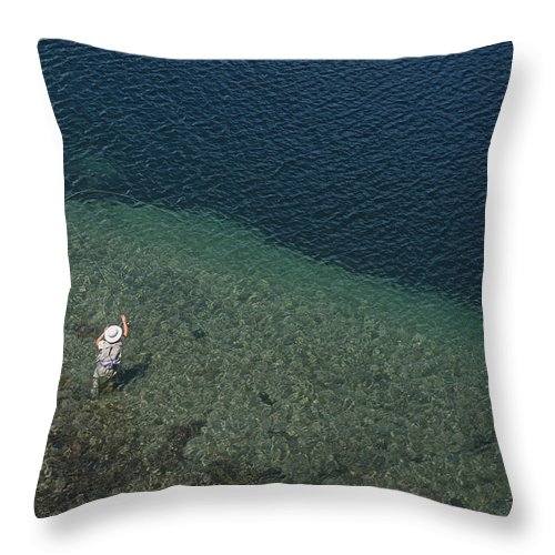 Day Throw Pillow featuring the photograph Fly Fishing In Alpine Lake by Topher Donahue