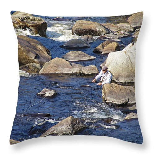 Fly Fishing Throw Pillow featuring the photograph Fly Fishing On Mountain River by Eric Swan