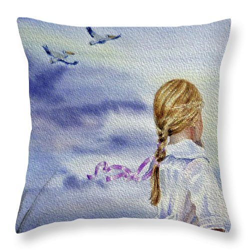Birds Throw Pillow featuring the painting Fly With Us by Irina Sztukowski