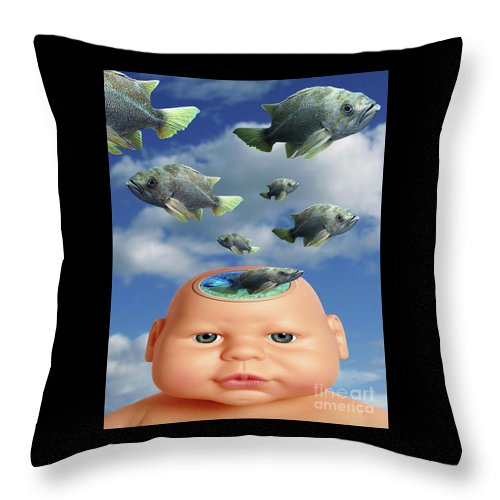 Baby Throw Pillow featuring the digital art Flying Head Fish by Keith Dillon