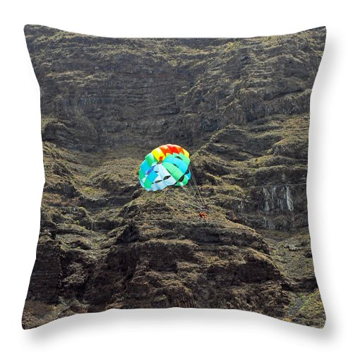 Parasailing Throw Pillow featuring the photograph Flying High by Tony Murtagh