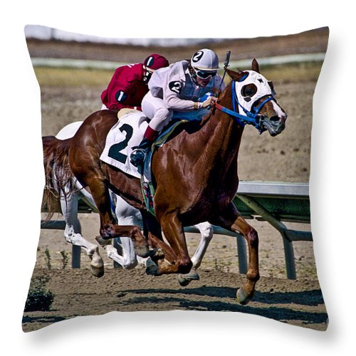 Racing Throw Pillow featuring the photograph Flying Hooves by Kathy McClure