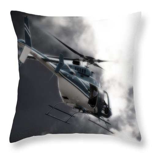 Bell 407 Throw Pillow featuring the photograph Flying Into The Light by Paul Job