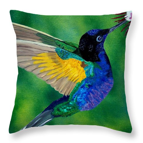 Hummingbird Throw Pillow featuring the painting Flying Jewel by Debbie LaFrance