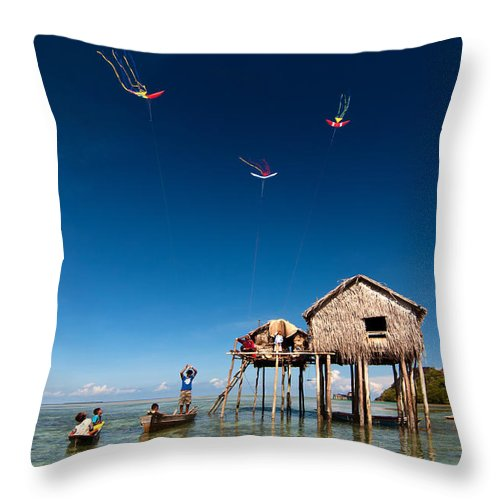 Flying Throw Pillow featuring the photograph Flying Kites by Kim Pin Tan