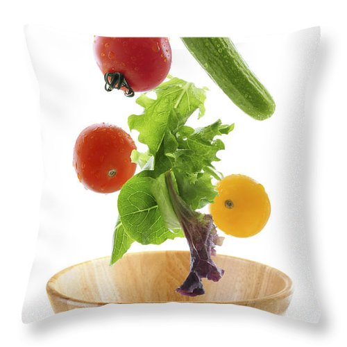 Vegetable Throw Pillow featuring the photograph Flying Salad by Elena Elisseeva