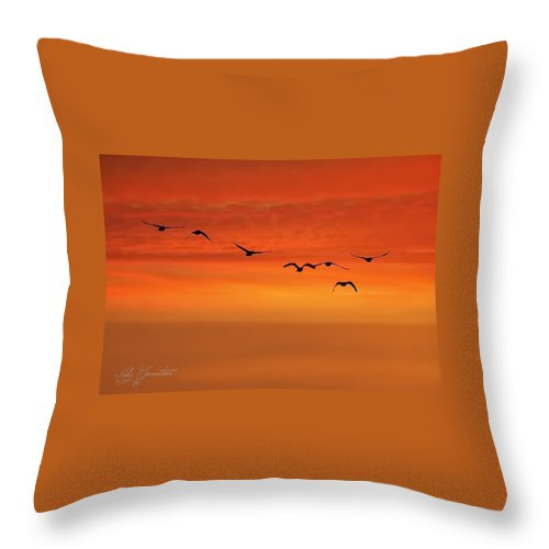 Birds Throw Pillow featuring the photograph Flying South by Cindy Greenstein