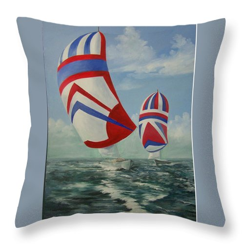 Sailing Ships Throw Pillow featuring the painting Flying The Colors by Wanda Dansereau