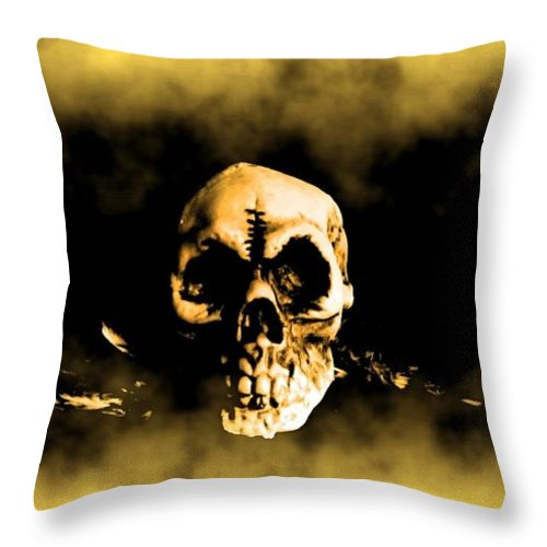 Skull Throw Pillow featuring the digital art Flying Through The Mist by John Malone