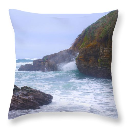 Montana De Oro State Park Throw Pillow featuring the photograph Foam In The Fog by Barbara Snyder