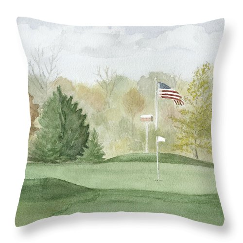 Fall Throw Pillow featuring the painting Focus On The Flag by Jean Lejcher