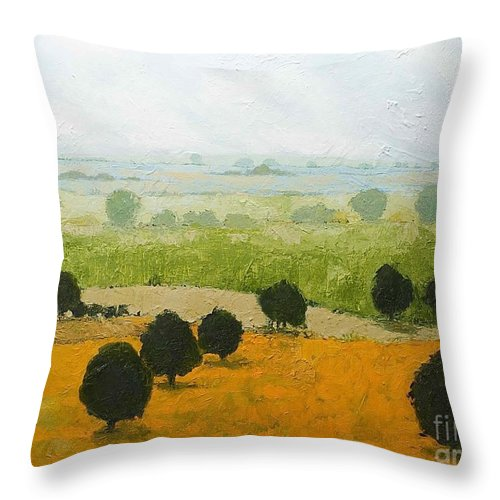 Landscape Throw Pillow featuring the painting Fog Lifting Fast by Allan P Friedlander