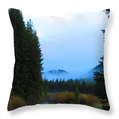 Mountains Throw Pillow featuring the photograph Fog Mountain by Connor Ehlers
