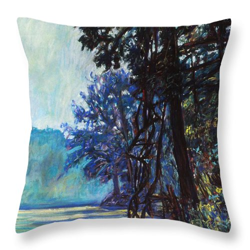 Kendall Kessler Throw Pillow featuring the painting Fog On The New River by Kendall Kessler