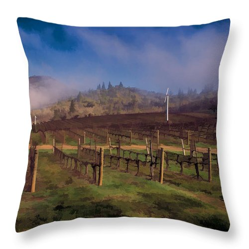 Digital Painting Throw Pillow featuring the photograph Fog Over Del Rio by Mick Anderson