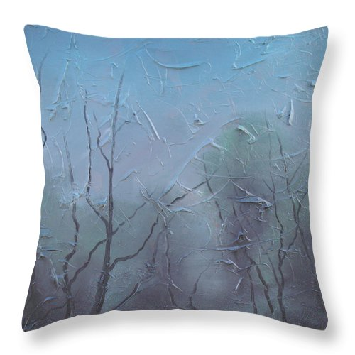 Landscape Throw Pillow featuring the painting Fog by Sergey Bezhinets