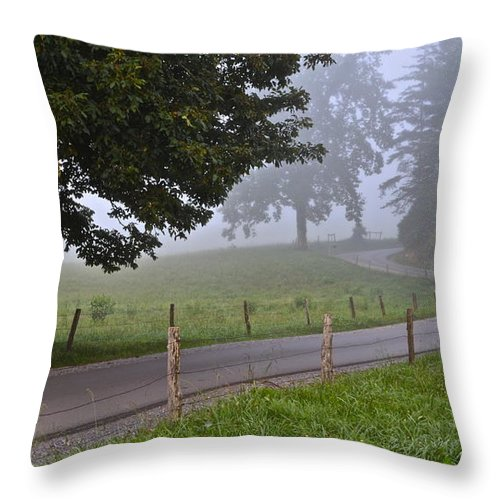 Fog Throw Pillow featuring the photograph Foggy Country Lane by Frozen in Time Fine Art Photography