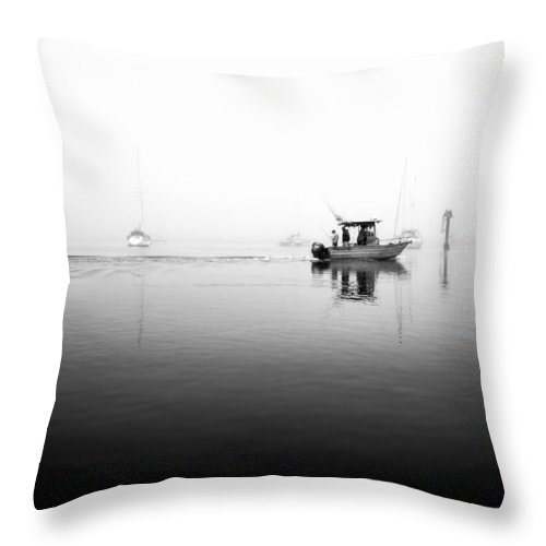 Fisherman Throw Pillow featuring the photograph Foggy Fishing Trip In Black And White by Priya Ghose