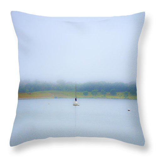 Glenn Cunningham Lake Throw Pillow featuring the photograph Foggy Mooring by Edward Peterson
