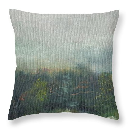 Landscape Throw Pillow featuring the painting Foggy Morning on Cannon by Sharon E Allen