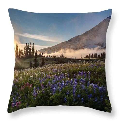 Wildflowers Throw Pillow featuring the photograph Foggy Rainier Sunset by Mike Reid