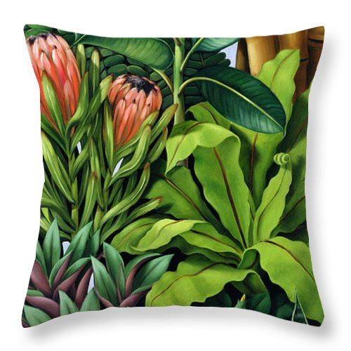 Leaves Throw Pillow featuring the painting Foliage IIi by Catherine Abel