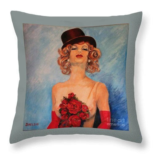 The Show Throw Pillow featuring the painting Folies Bergere Paris by Dagmar Helbig