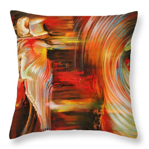 Dance Throw Pillow featuring the painting Folklore by Karina Llergo