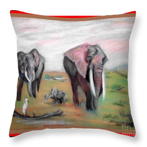 Family Throw Pillow featuring the pastel Follow Me To The Waters by Keith OBrien Simms