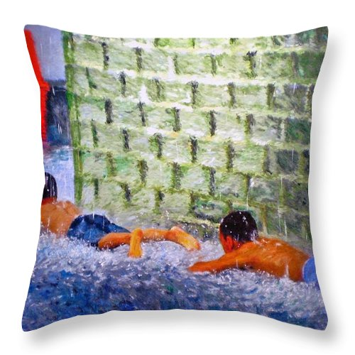 Boy Throw Pillow featuring the painting Follow The Leader by Michael Durst