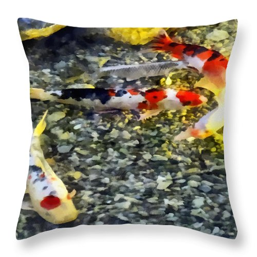 Koi Throw Pillow featuring the photograph Follow The Leader by Susan Savad
