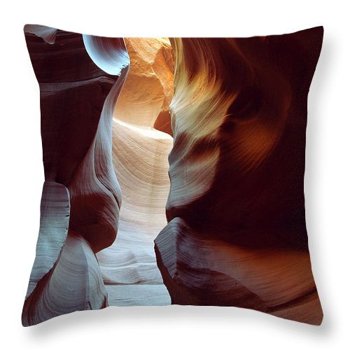 Slot Canyon Throw Pillow featuring the photograph Follow The Light II by Kathy McClure