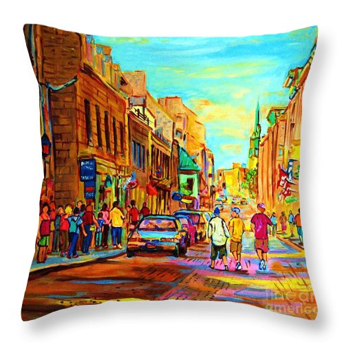 Montreal Throw Pillow featuring the painting Follow The Yellow Brick Road by Carole Spandau