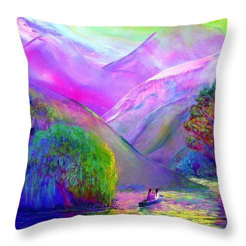 Love Throw Pillow featuring the painting Love Is Following The Flow Together by Jane Small