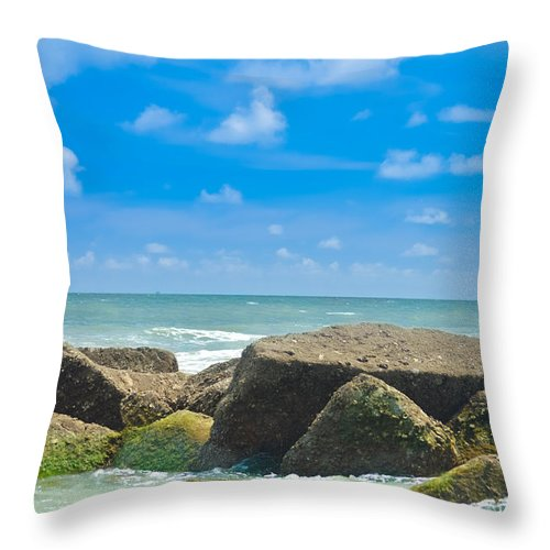 Folly Beach Throw Pillow featuring the photograph Folly Beach by Chris Collins