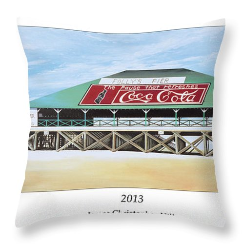 Sunrise Throw Pillow featuring the painting Folly Beach Original Pier by James Christopher Hill